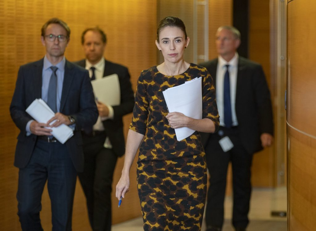 Prime Minister Jacinda Ardern of New Zealand has been praised for her leadership style during the pandemic.Credit...Pool photo by Mark Mitchell