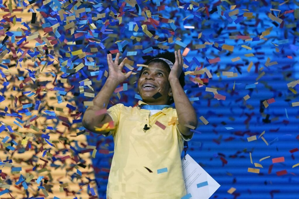 Zaila Avant-garde, 14, from Harvey, Louisiana celebrates with the championship trophy after winning the finals of the 2021 Scripps National Spelling Bee at Disney World Thursday, July 8, 2021, in Lake Buena Vista, Florida. (Ap Photo / John Raoux)