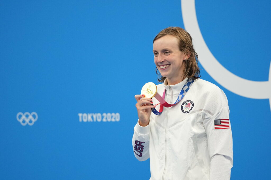 Katie Ledecky won her first gold medal of the Tokyo Games on Wednesday, dominating the 1,500-meter freestyle, just as she was expected to.