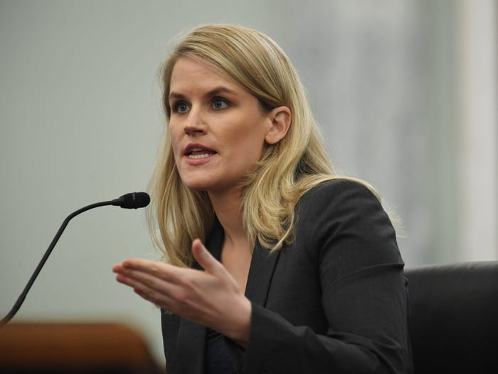 The Facebook whistleblower Frances Haugen testifying to a Senate committee. Matt McClain-Pool/Getty Images